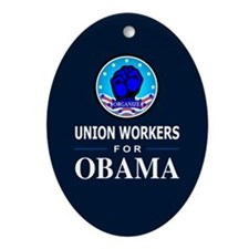 Union Workers Obama Oval Ornament