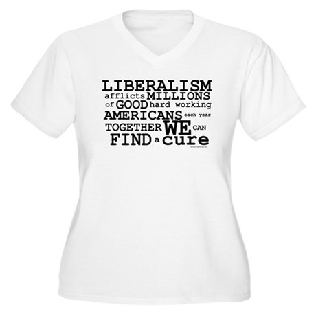 Cure Liberalism Women's Plus Size V-Neck T-Shirt