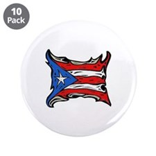 """Puerto Rico Heat Flag 3.5"""" Button (10 pack)"""