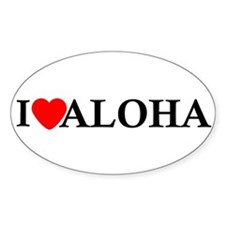 I Love Aloha Oval Sticker (10 pk)