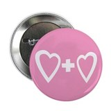 "Heart + Heart Pink 2.25"" Button (10 pack)"