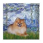Lilies #6/Pomeranian #4 Tile Coaster