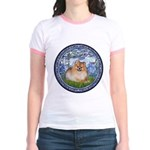 Lilies #6/Pomeranian #4 Jr. Ringer T-Shirt