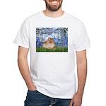 Lilies #6/Pomeranian #4 White T-Shirt