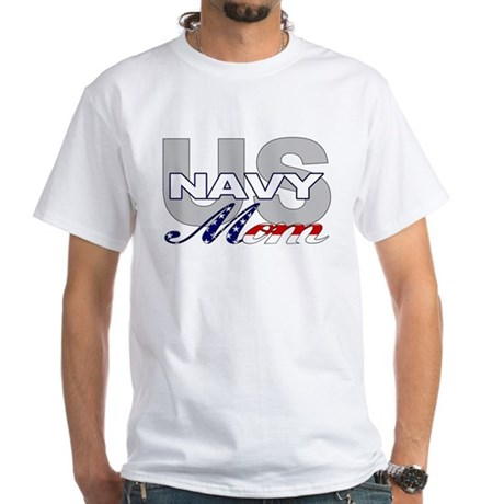 US Navy Mom White T-Shirt