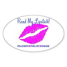 Read My Lipstick Palin Oval Decal