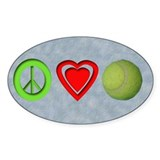 Peace, Love, Tennis Oval Bumper Stickers