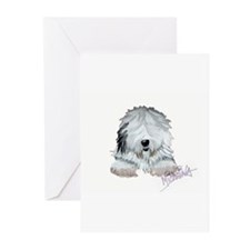 Cute Old english sheepdog Greeting Cards (Pk of 10)