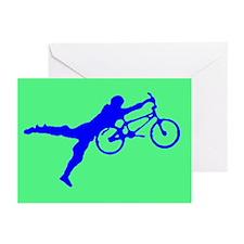 GREEN BLUE BMX Greeting Cards (Pk of 10)