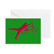 GREEN RED BMX Greeting Card