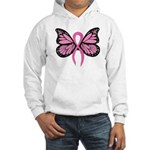 Breast Cancer Butterfly Hooded Sweatshirt
