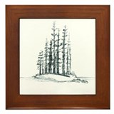 Forest Island Sketch Framed Tile