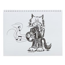French Horn Cat Wall Calendar