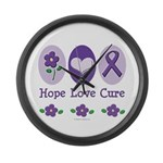Purple Ribbon Alzheimers Large Wall Clock