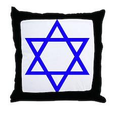 Blue Star of David Throw Pillow