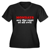 Mondays Are Evil Women's Plus Size V-Neck Dark T-S