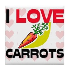 I Love Carrots Tile Coaster