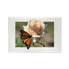 Jan's Rose & Monarch Rectangle Magnet (10 pack)
