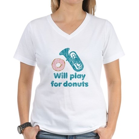 Will Play Tuba for Donuts Women's V-Neck T-Shirt