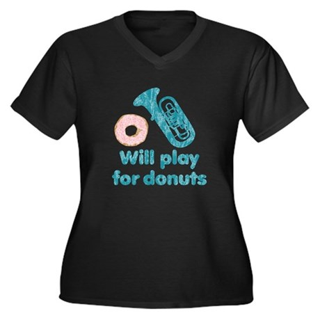 Will Play Tuba for Donuts Women's Plus Size V-Neck