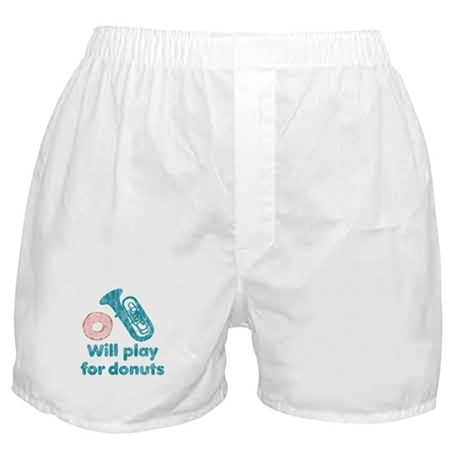 Will Play Tuba for Donuts Boxer Shorts