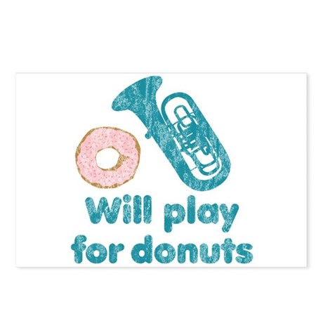 Will Play Tuba for Donuts Postcards (Package of 8)