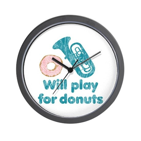 Will Play Tuba for Donuts Wall Clock