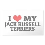 I Love My Jack Russell Terrie Sticker (Rectangular
