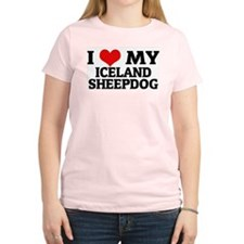 I Love My Iceland Sheepdog Women's Pink T-Shirt