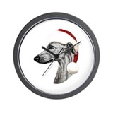 Black Whippet Santa Wall Clock
