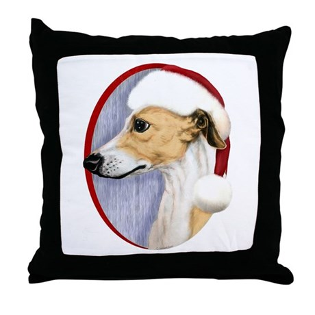 Tan & White Whippet Santa Throw Pillow