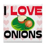 I Love Onions Tile Coaster