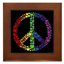 Rainbow Hearts Peace Framed Tile