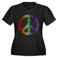 Rainbow Hearts Peace Women's Plus Size V-Neck Dark