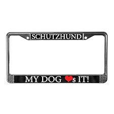 My Dog Loves Schutzhund License Plate Frame