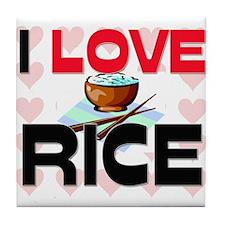 I Love Rice Tile Coaster