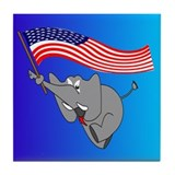 Republican Elephant Tile Coaster