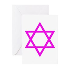 Magenta Star of David Greeting Cards (Pk of 20)