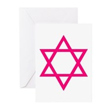 Pink Star of David Greeting Cards (Pk of 20)