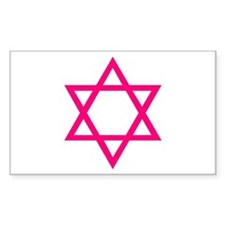 Pink Star of David Rectangle Decal