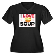 I Love Soup Women's Plus Size V-Neck Dark T-Shirt