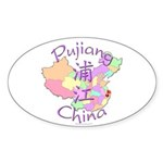Pujiang China Oval Sticker (10 pk)