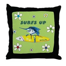 Surf Trixie Green Throw Pillow