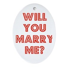 Retro - Will you marry me? Oval Ornament