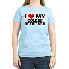 I Love My Golden Retriever Women's Pink T-Shirt