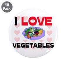 "I Love Vegetables 3.5"" Button (10 pack)"