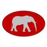 Red/Grey Elephant Logo Oval Decal
