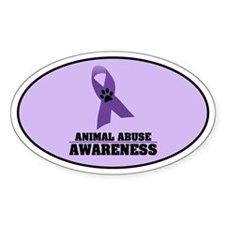 Animal Abuse Awareness Oval Sticker (10 pk)