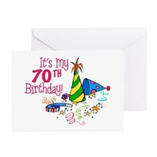 It's My 70th Birthday (Party Hats) Greeting Cards