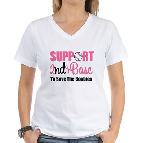 2ndbaseBreastCancer Women's V-Neck T-Shirt